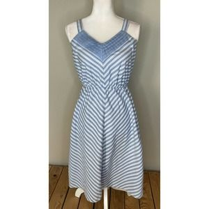Vintage TABBY Striped V Neck Knee Length Dress Sz6